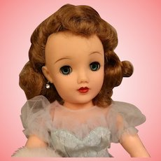 18 Inch Ideal Miss Revlon doll Queen of Diamonds blue gown Fur stole orig undies