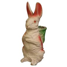Vintage 11 Inch 1940s Rabbit Papier Mache candy container w. a green basket