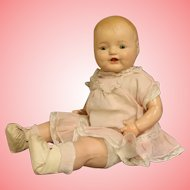19 Inch Horsman Dimples Composition Baby Doll 1930s Unmarked, Original clothes