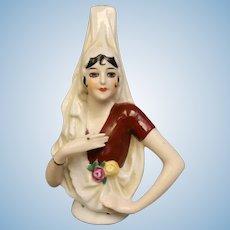 6.5 Spanish Lady Half Doll 100-16 Elaborate Draped mantilla Spit curl hair 1920s