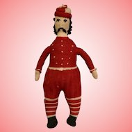 Vintage 15 inch Worsted Wool Man Doll with Mustache Stuffed Cotton Cloth 1930s