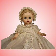 8 inch Madame Alexander Little Genius 1950s Orig Long organdy dress, bonnet