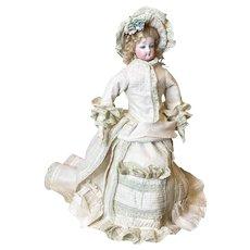 "Antique 15"" French Fashion Poupee Bisque Doll Size 2 c.1890"