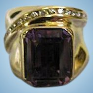 Emerald Cut 6.13ct Purple Amethyst and 14K Gold Ring