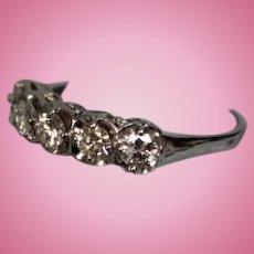 Classic lady's 14 karat white white gold five stone diamond wedding or anniversary ring size 7