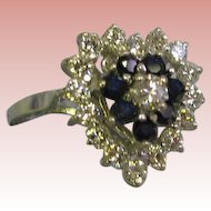 Heart shaped 14 Karat White gold ladys 24 stone diamonds blue sapphires ring size 7