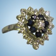 Heart shaped 14 Karat White gold ladys 24 stone diamonds blue sapphires ring size 7