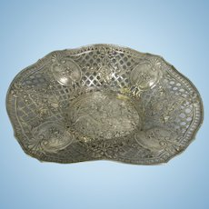 Antique Sterling Silver Pierced Basket Repousse Boar Hunt Hallmarks Ornate in Relief