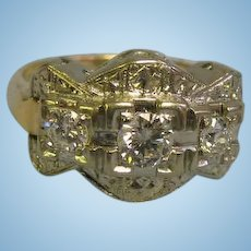 Lovely 14 Karat White and Yellow Gold Ladies Ring Size 6.25 with 3 Diamonds