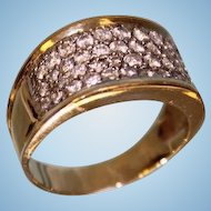 Lady's 18 Karat Yellow and White Gold Pave Fashion Diamond Ring 1.50 ctw Gorgeous