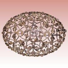 Antique 14 K White Gold Diamond and Pearl Brooch .50 Center European Cut Diamond