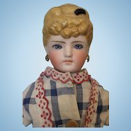 20 inch Antique Kling 128 Parian doll Molded hair with comb Blue glass PW eyes
