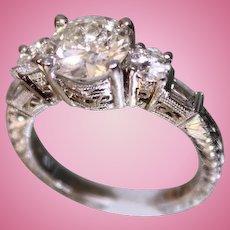 Lady's Platinum and Diamond Ring 1.75 Center diamond plus more diamonds Hand Chased