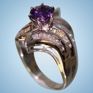 1950's Lady's 14Karat White Gold and Amethyst Diamond Ring Very Beautiful