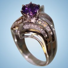 1950's Lady's 14Karat White Gold and Amethyst Diamond Ring Very Beautiful