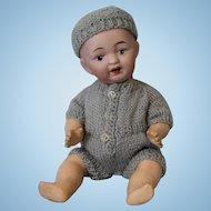 7 inch Solid Dome Antique Bisque Character Boy Doll 3 410 WWI Japan Nippon