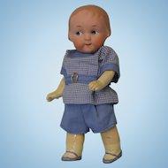 6.25 inch Antique German 210 Bisque Googly eyed Doll, closed mouth, toddler body