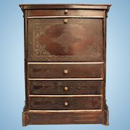 Antique Biedermeier Drop Front Secretary Furniture for Your French Fashion Doll