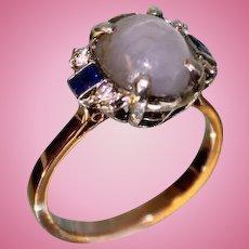 Lady's 14 Karat Rose Gold Star Sapphire, Diamond and Sapphire Ring
