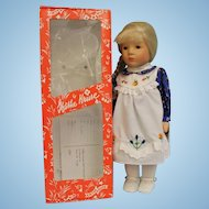 14 inch Kathe Kruse Doll in Box hair has bangs is braided and pulled to one side