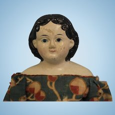 "Early c.1850's 14"" Greiner Antique Papier Mache Doll Original Clothes & Decal"