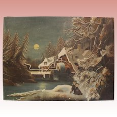 Antique 24 X 32 inch oil Painting on Canvas with Mill and two Children Sledding