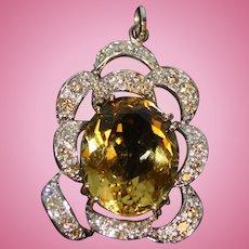 Beautiful Ladies 14k Yellow and White Gold Yellow Quartz & Diamond Pendant