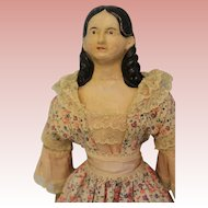 "16"" Early German Papier Mache Milliners Doll Long Ringlets Wood Arms Legs c.1850"