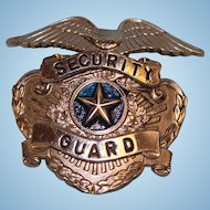 "Old Nickel Security Guard Badge 2"" X 2"" tall and wide blue center Eagle at top"