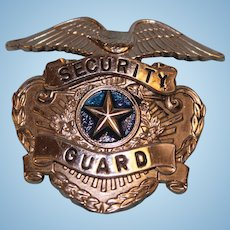 """Old Nickel Security Guard Badge 2"""" X 2"""" tall and wide blue center Eagle at top"""