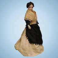 "Antique 17"" French Fashion Bisque Doll FG Size 2 with Leather & Cloth Body"