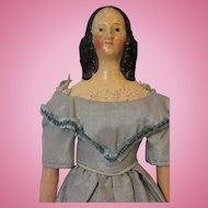 12 Inch Antique Papier Mache Milliner Model Doll Fancy Spaniel Curls Hair 1840s