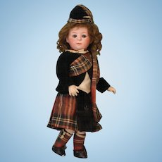 10 inch Antique Gebruder Heubach 1246 pouty Character w. All Orig Scots costume Doll