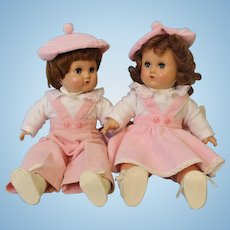 Two-15 inch American Character Brother & Sister Hard Plastic Head Compo Hands & legs