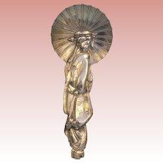 6 inch Figural Sterling Silver Geisha Spoon Marked Samurai Sh KPI Yokowama c.1920