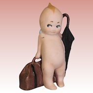 3.5 inch Antique German Bisque Rose O'Neill Kewpie Traveler Suitcase & Umbrella 1913