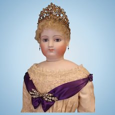 33 inch - 34 inch tall Antique French Fashion Jumeau Countess Doll with Antique Crown on Stamped Jumeau body circa 1872