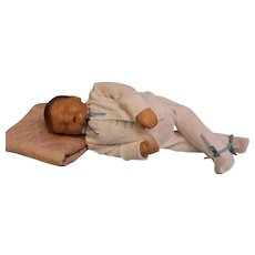 """19 inch Sleeping """"Traumerchen"""" Kathe Kruse Sand Baby Doll circa 1940s Feels Real when you hold the doll! - Red Tag Sale Item"""