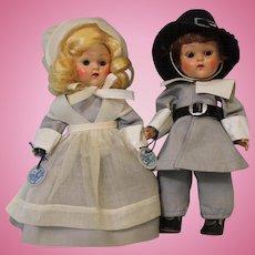 "TWO 8 inch Vogue Ginny Doll Pilgrim Priscilla & John Alden ""Frolicking Fables""Series"