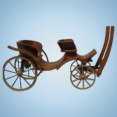Antique Horse drawn miniature French wooden coach all wooden with Silk tufting