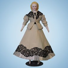 11-1/2 inch Blonde Parian Doll Alt Beck Gottschalck 10 sausage curls Blue eyes 1860s