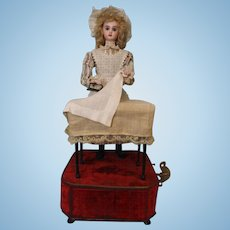 "19 inch French Tete Jumeau Musical Automaton ""Housekeeper at the Laundry Table"" 1890"