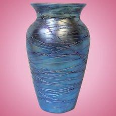 8 inch American Durand Blue Lustre Threaded Art Glass Vase circa 1925 Iridescent