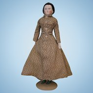 17 inch Antique China Head Doll Snood, brush strokes, gold band in hair, 3 sew holes