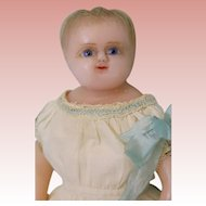 11-inch Antique Poured Wax Doll England All original hand sewn Gown Cape Bonnet