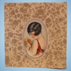 Antique Christmas Gift Box with Chromolithograph of 1920's Flapper Clean