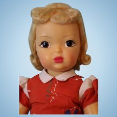 18 inch Vintage Hard Plastic Terri Lee Doll Tagged Dress with Hearts Blond,clean