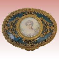 "1'' T X 3-1/2"" W French Antique French Enamel box Portrait of Marie Antoinette"