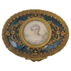 "1'' T X 3-1/2"" W French Antique French Enamel box Portrait of Marie Antoinette"