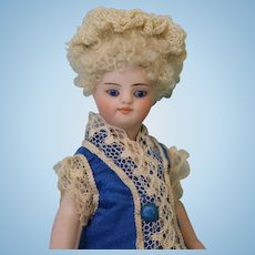 5 inch All Bisque French Mignonette Orig. skin wig,dressed in a hand Silk blue Dress